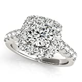 14k Gold Halo Engagement Ring available with round center diamond options : 0.50ct., 0.75ct., 1.00ct., 1.50ct.