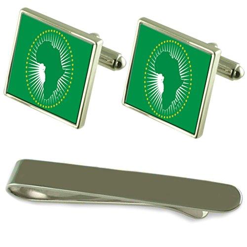 Drapeau de l'Union africaine de manchette d'argent un Ensemble cadeau Cravate