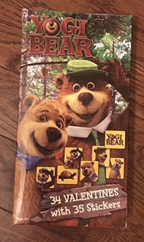 Yogi Bear with Stickers Valentines Day Cards Box of 34