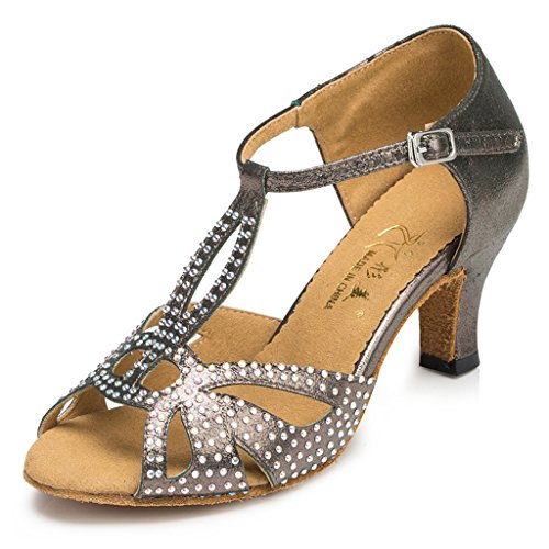 Meijili Women's T-strap Glitter Salsa Tango Ballroom Latin Dance Shoes Satin Wedding Pumps Low Heel Sandals Grey J4E8kKt