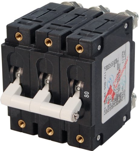 Blue Sea Systems C-Series White Toggle Triple Pole 80A Circuit Breaker