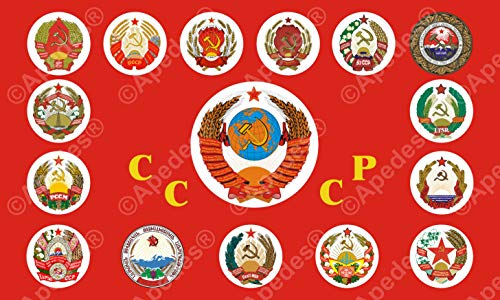 15 Soviet Republics Coat of Arms Flag Banner Computer Tablet Decal Sticker 3x5 inches ()
