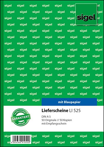 Sigel LI525 Lieferscheine mit Empfangsschein, A5, 2x50 Blatt
