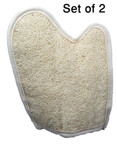 Exfoliating Egyptian Loofah Glove/Pad - 2 Pack 100% Natural SPA Beauty - Bath Sponge Body Puff Scrubber - Premium Quality Lofa Loofa Luffa Loffa for exfoliating Your Skin.
