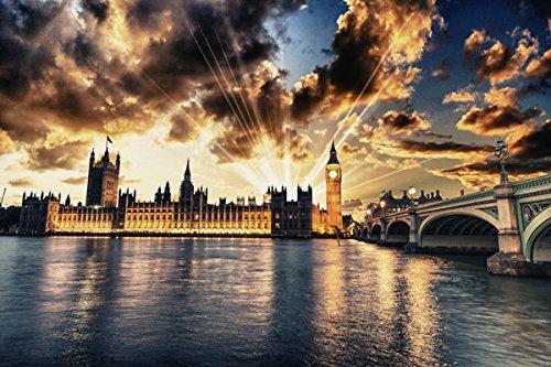 (United Kingdom Houses Rivers Bridges London Street lights Night Clouds Rays of light (P-001768) - Poster Art Print on Canvas (36x24inch))