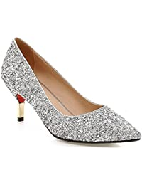 Women's Glitter Sequined Pointed Toe Low Top Slip On...
