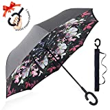 : ZOMAKE Double Layer Inverted Umbrella Cars Reverse Umbrella, UV Protection Windproof Large Straight Umbrella for Car Rain Outdoor With C-Shaped Handle(Beauty Flower)
