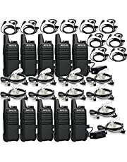 Retevis RT22 Rechargeable Walkie Talkies 16 CH VOX Emergency Two Way Radio 2 Pin Earpiece Headset (10 Pack) Acoustic Tube Headset (10 Pack)