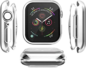 Tech Express Electroplate Metal Soft Case for Apple Watch Series 4 [iWatch Cover] Rugged Mirrored Chrome Skin 40mm, 44mm TPU Gel Cover Shockproof Tough Full Body Open Front (Silver, 44mm)