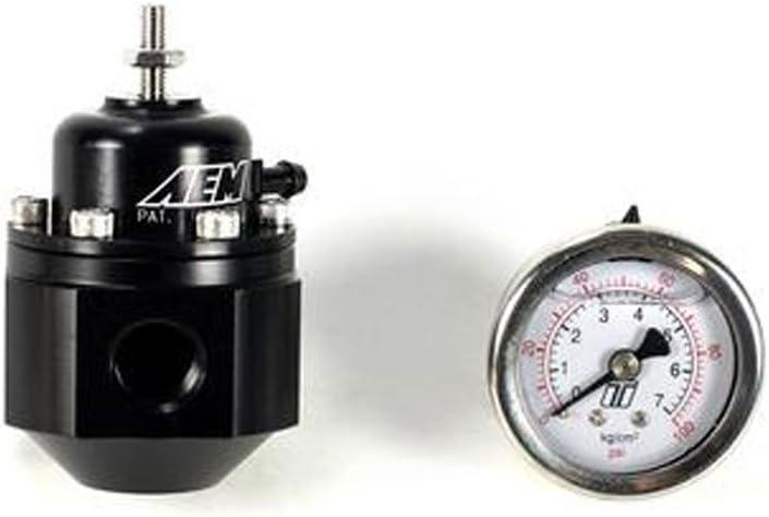 MAPerformance Fuel Rail Adapter Pressure Kit with AEM Regulator Lightweight Black Braided Line Hose Adjust and Monitor for 2003-2007 Mitsubishi Evo 8 9
