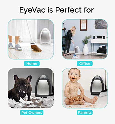 EyeVac Home: Professional Clean for The Home - Touchless Stationary Vacuum, Dual High Efficiency Filtration, Corded, Bagless, Automatic Sensors, 1000 Watt - Silver