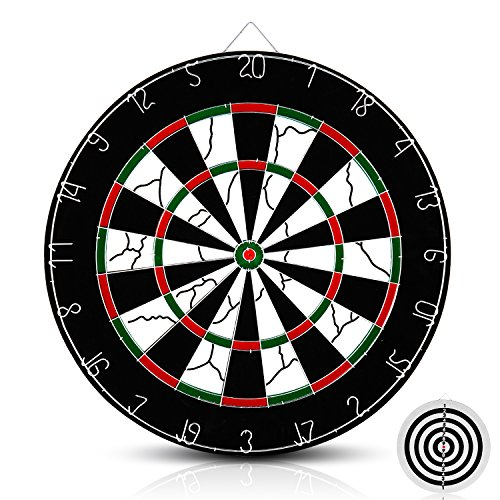 Dart Board Package - Medis Dart Board, Professional Double-sided Core Bristle with 6 Brass Darts(18 inch)