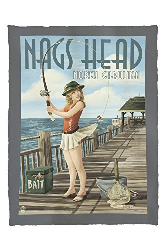 Nags Head, North Carolina - Pinup Girl Fishing (60x80 Poly Fleece Thick Plush - Heads Nags