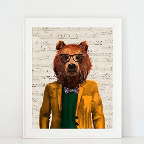The Bear is a Gentleman - Unique animal wall decor art print