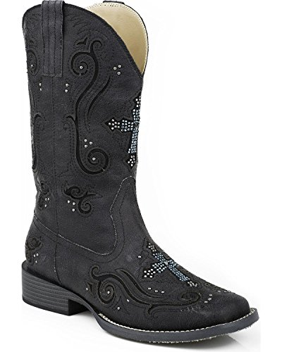 Ladies Cowboy Boot Stitch Design Padded Insole Faux Leather