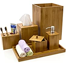 Intriom Bamboo Bathroom Vanity Accessories Set of 6 - Shampoo/Lotion Pump Dispenser / Tray / Garbage Bin / Cotton Ball Box w/ Cover / Toothbrush Holder and Square Tissue Box