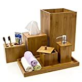 Intriom Bamboo Bathroom Vanity Accessories Set of 6 - Shampoo/Lotion Pump...
