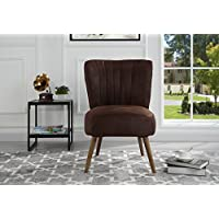 Classic and Traditional Living Room Brush Microfiber Accent Chair with Tufted Details (Dark Brown)