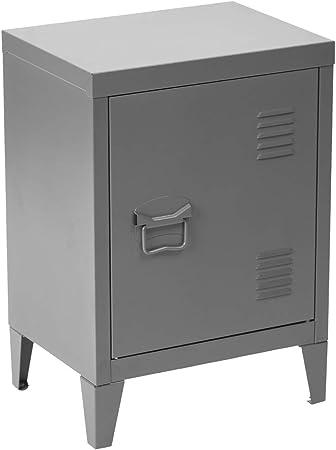 Meuble Cosy Table De Chevet Petit Meuble En Acier Gris Casier En Metal Avec Deux Etageres Rangement Bureau Gris 30x40x57 Cm Amazon Fr Cuisine Maison