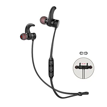 Bluetooth Earphones, Running Headphones 10 Hours Music Playing Time  Anti-Falling Waterproof Magnetic Switch Wireless Sports Earphones with Mic  (Black)