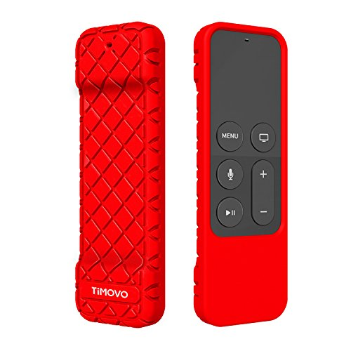 TiMOVO Protective Case Compatible for Apple TV 4K/4th Gen Remote, Anti Slip & Shock Proof Skin, Lightweight Soft Silicone Cover Fit Apple TV 4K Siri Remote Controller - Red