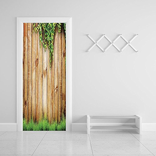 3d Door Wall Mural Wallpaper Stickers [ Rustic Home Decor,Fresh Spring Grass and Leaf Plant over Old Wood Fence Garden Field Photo,Green Brown ] Mural Door Wall Stickers Wallpaper Mural - Glasses Zooey