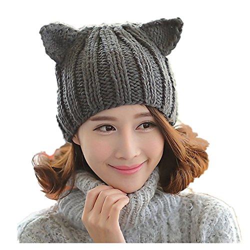 Handmade Cute Dog Costumes (ALLDECOR Cute Women Dog ear Beanie 100% Handmade Knitted Winter Warm Hat)