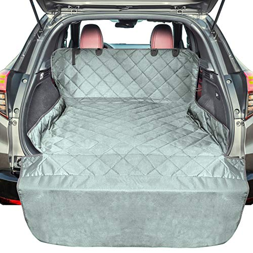 F-color SUV Cargo Liner for Dogs, Waterproof Pet Cargo Cover Dog Seat Cover Mat for SUVs Sedans Vans with Bumper Flap Protector, Non-Slip, Large Size Universal Fit, Grey