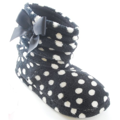 Womens/Ladies Polka Dot Boot Slippers With Bow Detail (9.5 US) (Black)