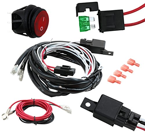 EPAuto 12V 40 Amp Off Road LED Light Bar Wiring Harness Kit, 40A Relay on