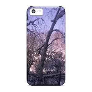 Premium Protection Purpel Garden Case Cover For Iphone 5c- Retail Packaging