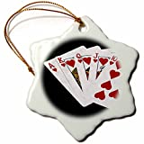 3dRose Alexis Photo-Art - Poker Hands - Poker Hands Royal Flush Hearts - 3 inch Snowflake Porcelain Ornament (orn_270299_1)