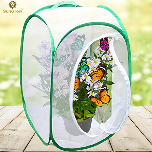 "Backyard Butterfly Cage Habitat --- 24"" Tall, Collapsible, Pop-up Terrarium - Fine Mesh stops Predator – 5 Mesh Panels for airflow - With Large Zipper Opening - Clear window panel for easy viewing"