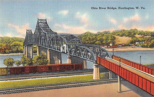 Bridge Linen - Huntington West Virginia view of Ohio River Bridge linen antique pc Z21551