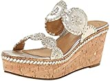 Jack Rogers Women's Leigh Wedge Sandals Platinum 7.5 and Travel Sunscreen (15 SPF) Spray Bundle