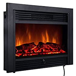 """Giantex 28.5"""" Electric Fireplace Insert with Heater Glass View Log Flame with Remote Control Home from Giantex"""