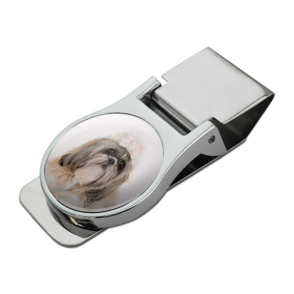Shih Tzu Dog Precious Knit Hat Satin Chrome Plated Metal Money Clip