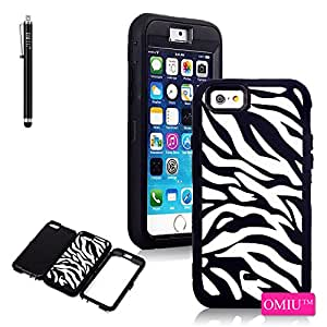 iPhone 6 Case, OMIU(TM) [3 Layers Design Zebra Pattern] Hybrid Hard Soft Combo Shock-Absorption Bumper Back Case Cover Protector Fit For Apple iPhone 6(4.7)(Black), Sent Stylus