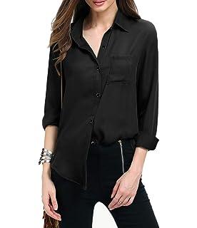 1ab23b20ea8 Yidarton Women Long Sleeve Chiffon Shirt Boxy Blouse Button Down Chiffon  Blouse Shirts Tops with Chest