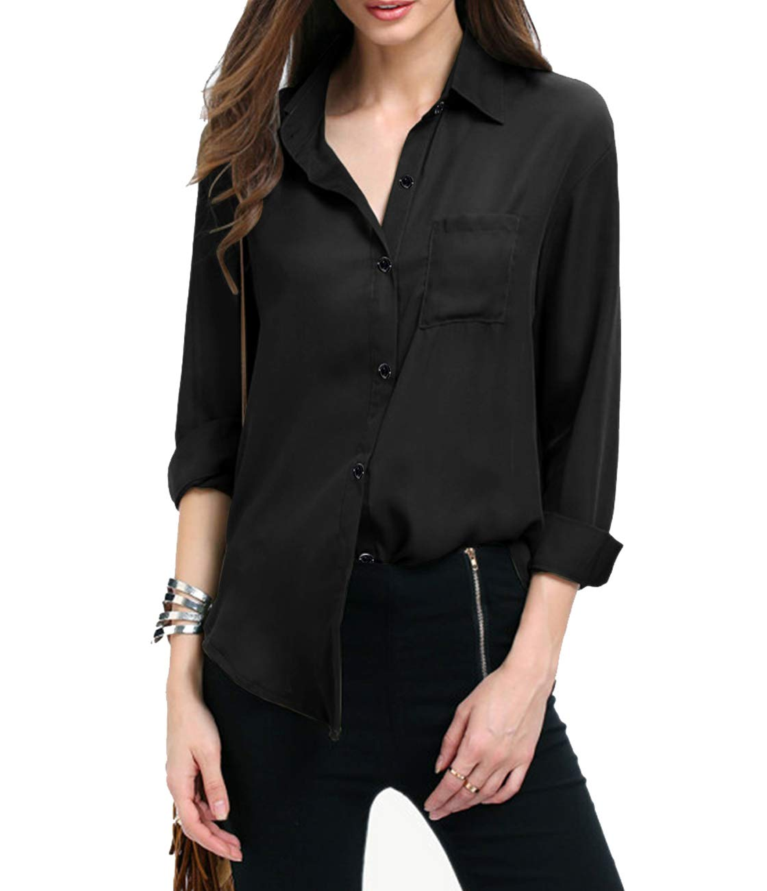 YOOKI Women Autumn Dresses Long Sleeve Chiffon Shirt Boxy Blouse Button Down Chiffon Blouse Shirts Tops with Chest Pocket (L, Black)