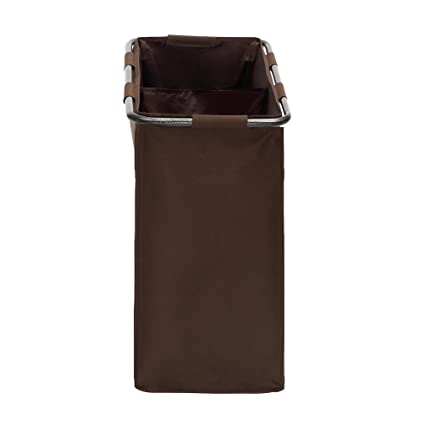 Maniac - Cesto para la colada con 2 compartimentos y mango de antideslizante de pie de almacenamiento, color marrón: Amazon.es: Hogar