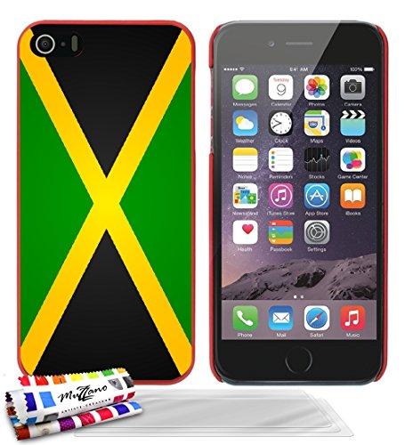 Ultraflache weiche Schutzhülle APPLE IPHONE 5 [Flagge Jamaika] [Rot] von MUZZANO + 3 Display-Schutzfolien UltraClear + STIFT und MICROFASERTUCH MUZZANO® GRATIS - Das ULTIMATIVE, ELEGANTE UND LANGLEBIG