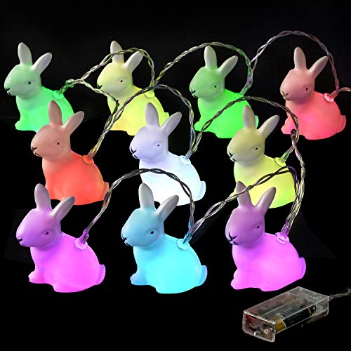 Easter Bunny LED Night Light, Coxeer Easter Rabbit String Lights Bunny Shaped 10 LED Battery Powered Decorative Lights with Clear Cord (Multicolor Bunnies)