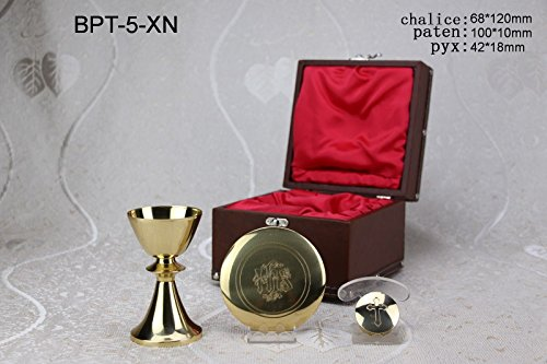 (Communion Set Chalice Paten Pyx in Case for Mass Kit or Sick Call Set BPT-5-XN. Our company have 5 kinds of Chalice & Paten & Pyx combination with case for your choice)