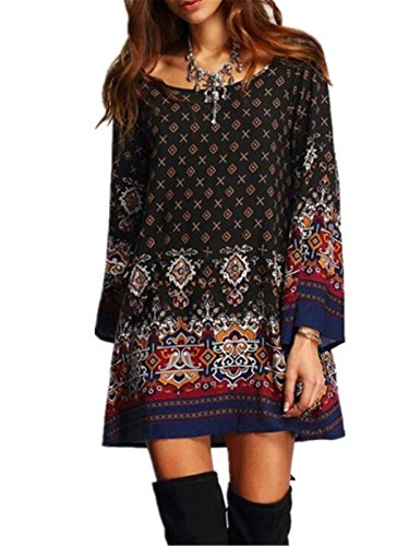 Aimur-Womens-Traditional-Boho-Style-Mix-Printed-Baby-Doll-Dress-Plus-Size-Black