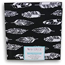 Waverly Inspirations Fat Quarters - Black with White Feathers