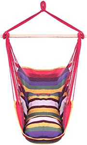 Hanging Chair Hammock Chair Porch Swinging Chair Hanging Chairs Outdoor Red Stripes Distinctive Cotton Canvas Hanging Rope Chair Hammock Indoor Bedroom Decor for Teen Girls (Color : Red)