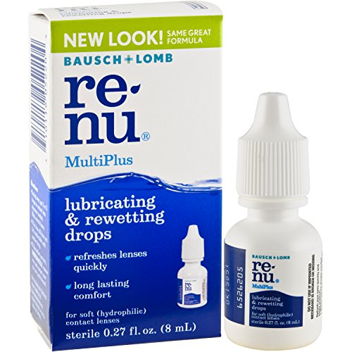Renu MultiPlus Lubricating and Rewetting Soft Eye Contact Lens Drops 0.27 Fluid Ounces (Pack of 4) ()