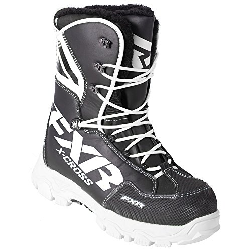FXR X Cross Lace Boot Authentic Durable Lightweight Toe Kick Snocross Snowmobile - Black/White - Mens 12 ()
