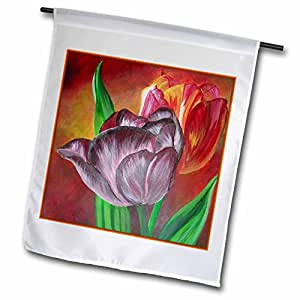 Taiche - Acrylic Painting - Tulips - Two Tulips - floral, realism, still life, tulip, tulips, anniversary flower, wedding anniversary - 12 x 18 inch Garden Flag (fl_49420_1)